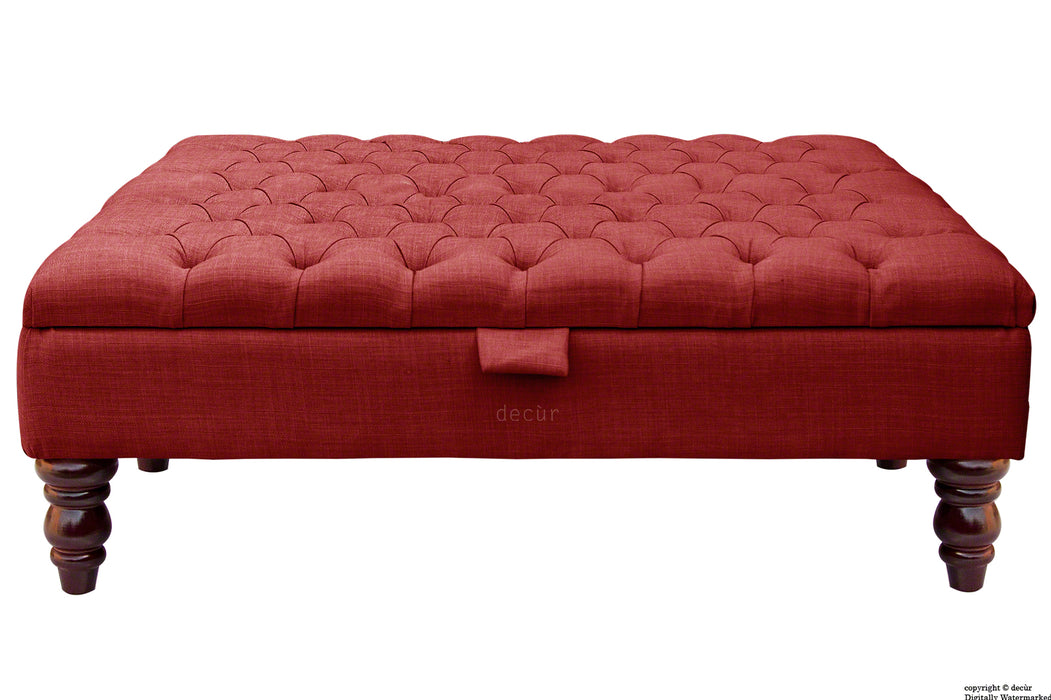 Tiffany Buttoned Linen Footstool Large - Wine with Optional Storage