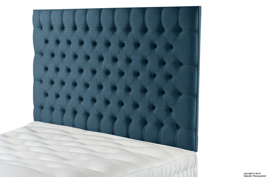 Tiffany Harrogate Buttoned Wall High Linen Headboard - Midnight