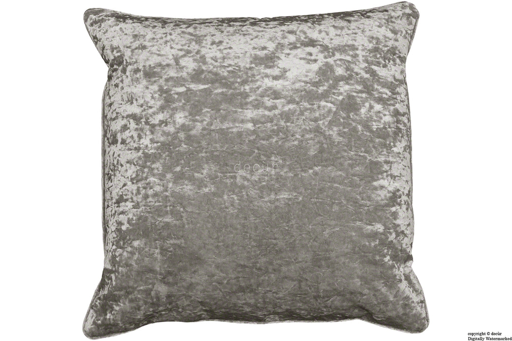 Serenity Crushed Velvet Cushion - Pewter