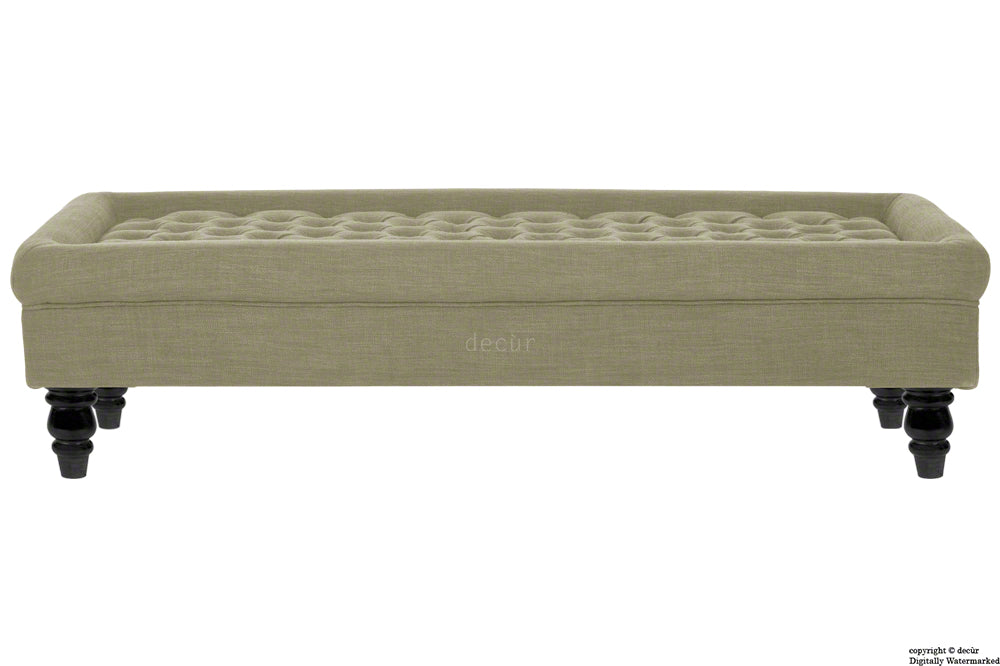 Cavendish Buttoned Linen Footstool - Taupe