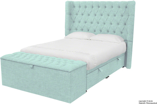 Hollyrood Linen Upholstered Winged Ottoman Bed - Sky Duck Egg Blue