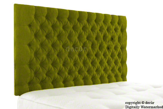 Tiffany Harrogate Buttoned Wall High Chenille Headboard - Olive Lime