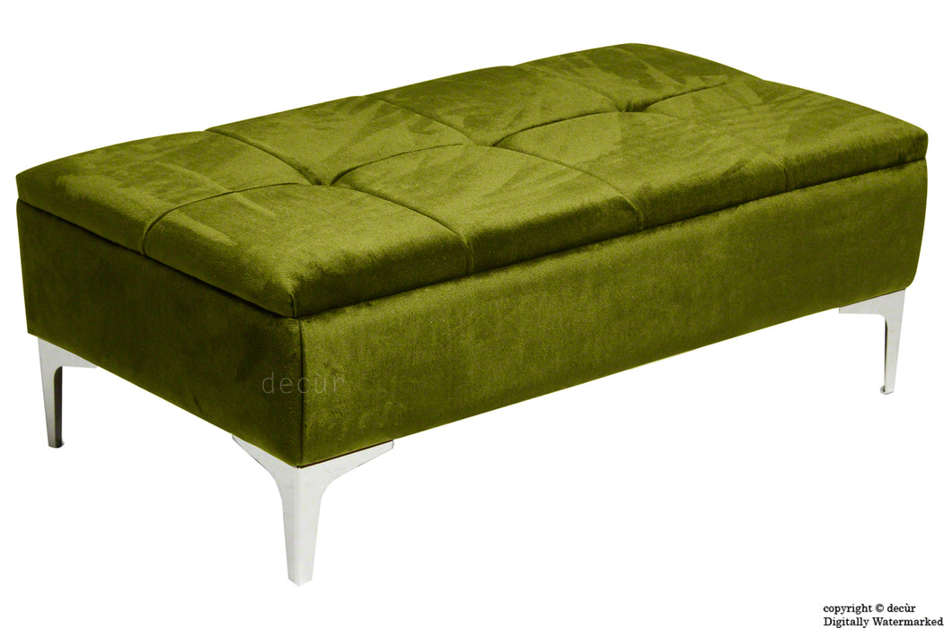 Mila Modern Buttoned Velvet Footstool - Grass with Optional Storage