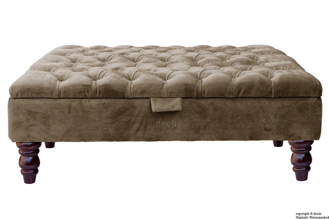 Tiffany Buttoned Velvet Footstool Large - Taupe with Optional Storage