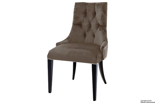 Magdalin Deep Buttoned Velvet Dining Chair  - Mushroom