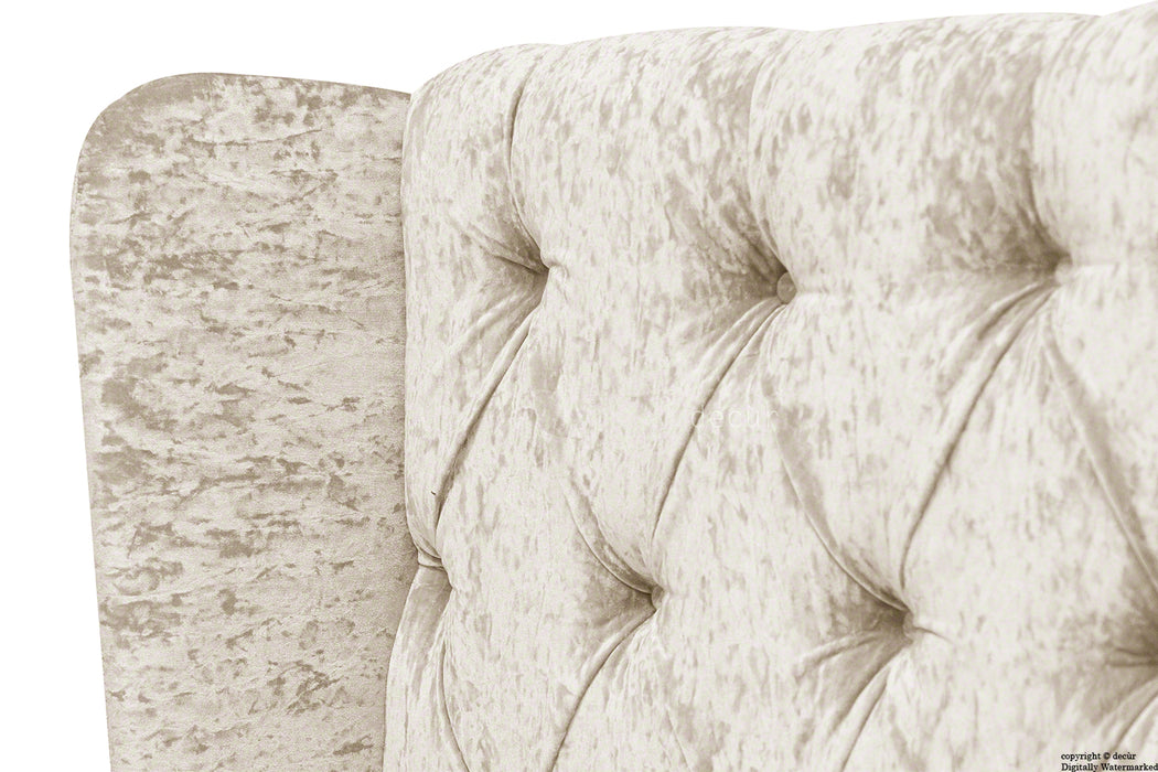 Elizabeth Winged Buttoned Crushed Velvet Headboard - Oyster