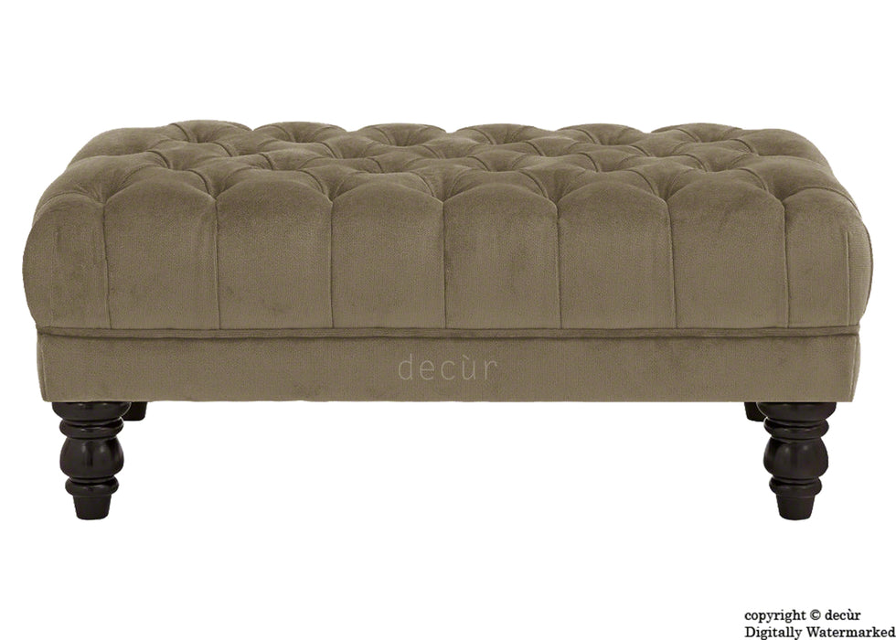 Sienna Buttoned Velvet Footstool - Taupe