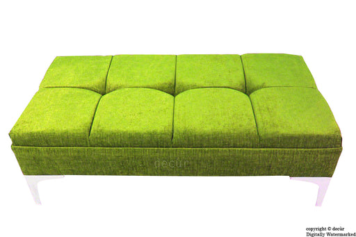 Mila Buttoned Footstool - Lime with Optional Storage