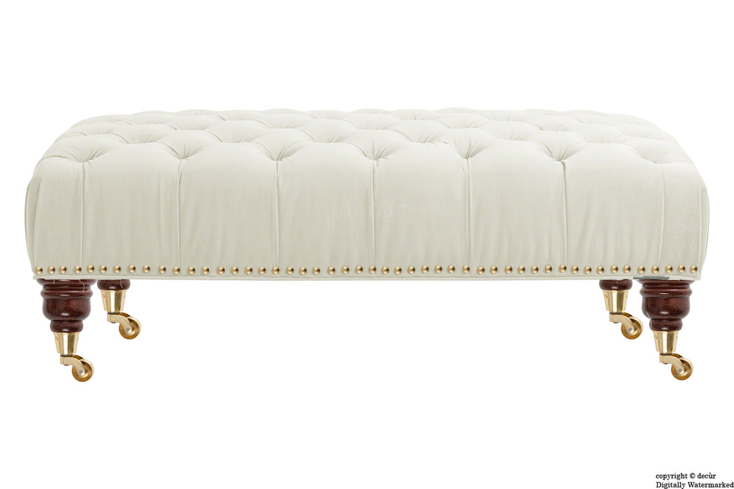 Catherine Buttoned Velvet Footstool - Cream with Optional Storage