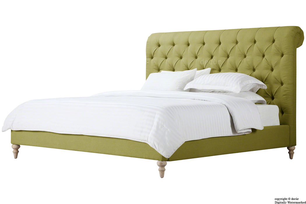 Bonaparte Deep Buttoned Chesterfield Upholstered Linen Bed - Apple