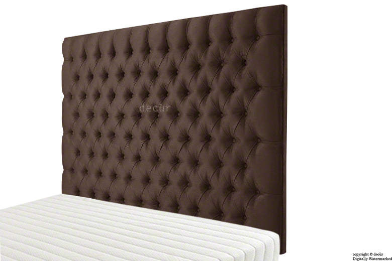 Tiffany Harrogate Buttoned Wall High Faux Suede Headboard - Chocolate