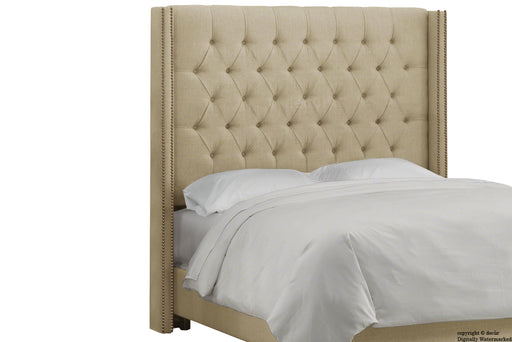 Balmoral Buttoned Linen Winged Headboard - Sand