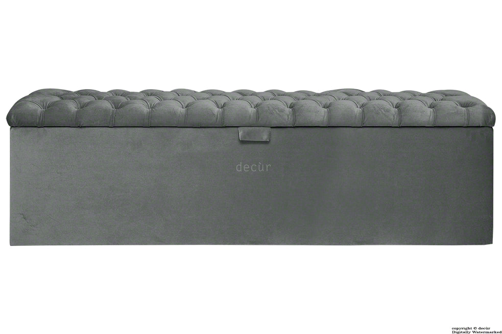 Viscount Chesterfield Velvet Ottoman - Slate