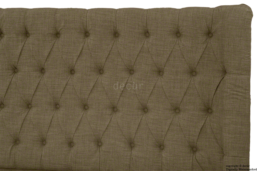 Hollyrood Buttoned Linen Winged Headboard - Nutmeg