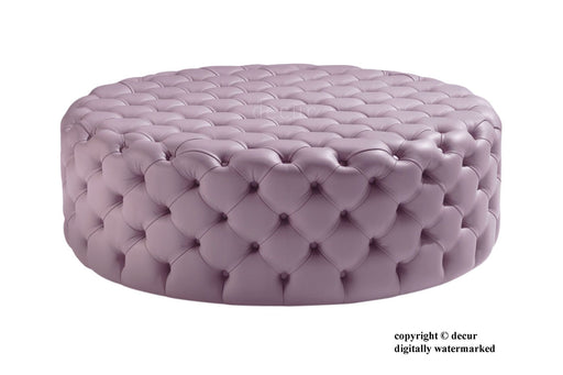 Decur Leather Round Buttoned Ottoman / Footstool - Tea  Rose