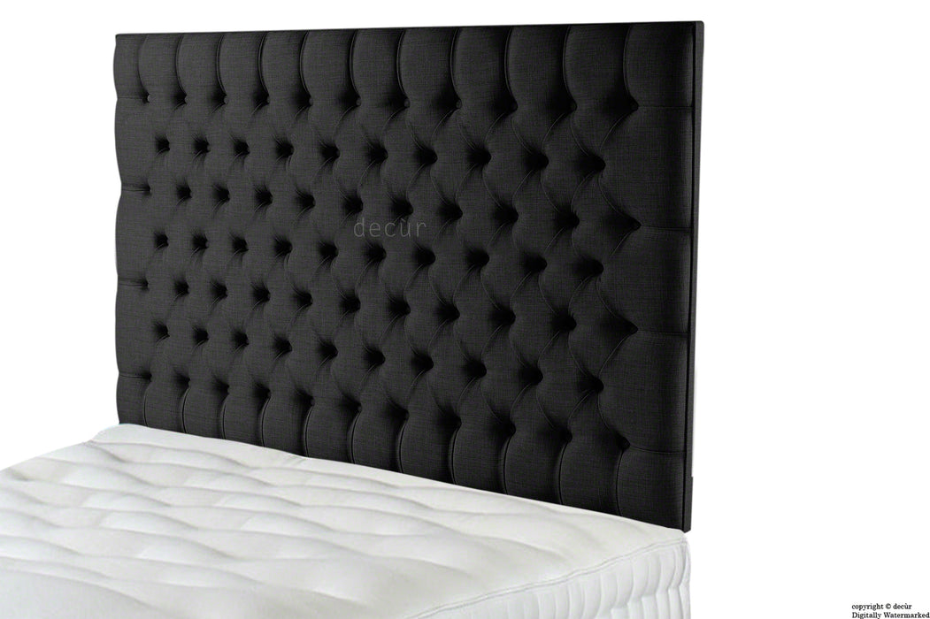 Tiffany Harrogate Buttoned Wall High Linen Headboard - Ebony Black