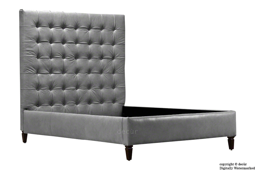 Grace Upholstered Leather Bed - Elephant Grey (Faux Leather Options)