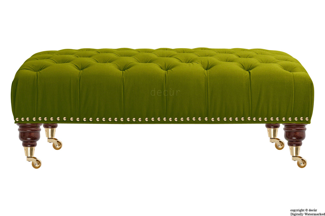 Catherine Buttoned Velvet Footstool - Grass with Optional Storage