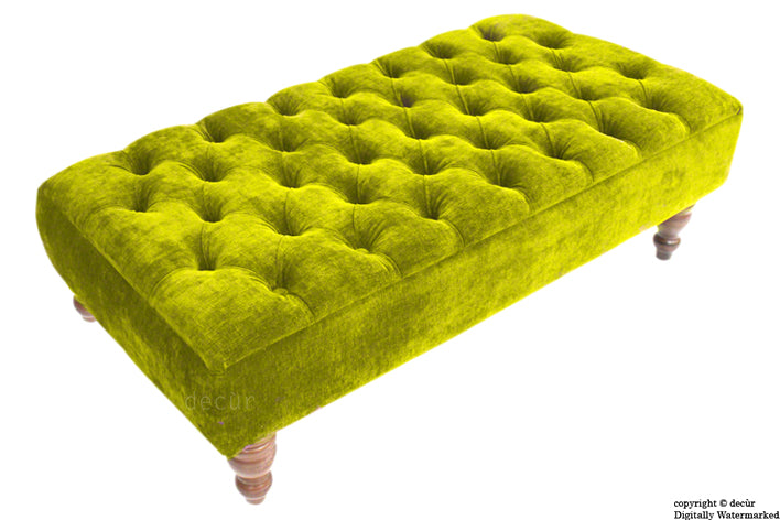 Tiffany Buttoned Chenille Footstool - Olive Green with Optional Storage