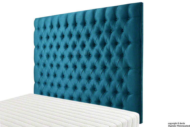 Tiffany Harrogate Buttoned Wall High Velvet Headboard - Peacock