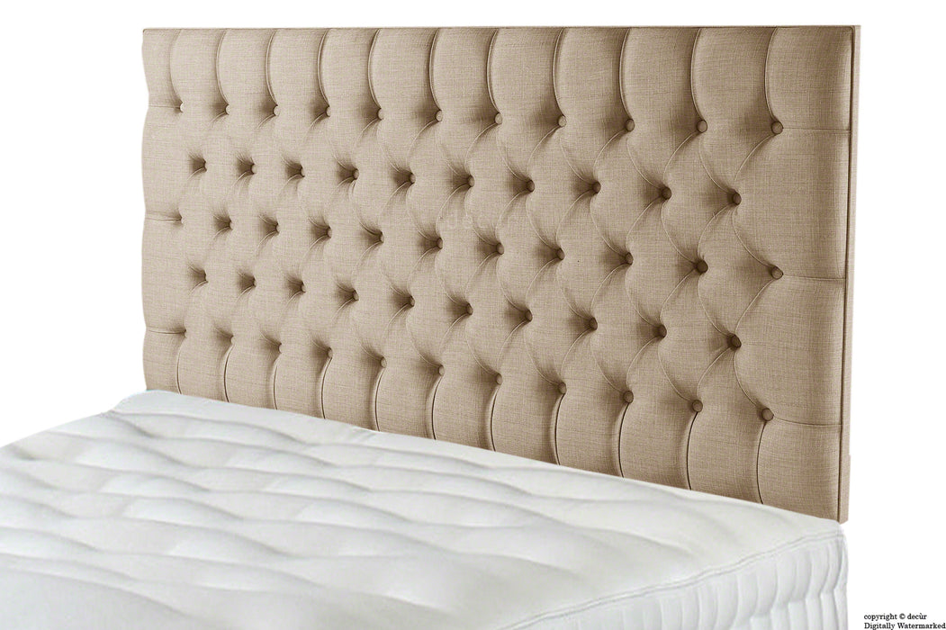 Tiffany Harrogate Buttoned Linen Headboard - Fudge