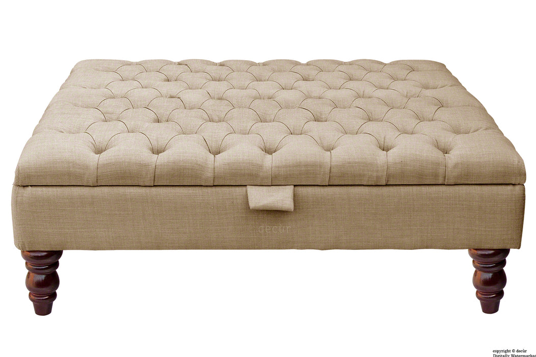 Tiffany Buttoned Linen Footstool Large - Fudge with Optional Storage