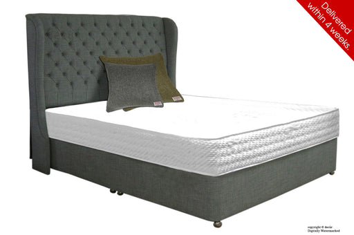 Chelsea Wing Button Wool Bed - Smoke