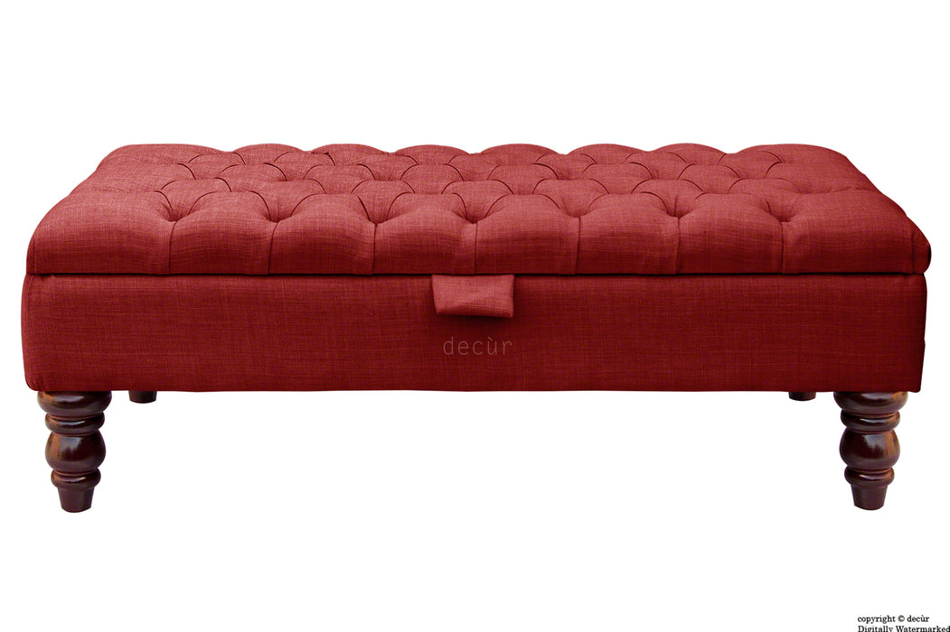 Tiffany Buttoned Linen Footstool - Wine with Optional Storage