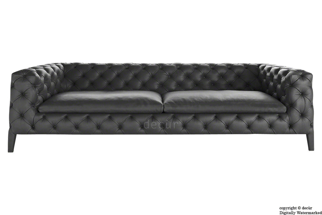 Rochester Leather Chesterfield Sofa - Carbon Black