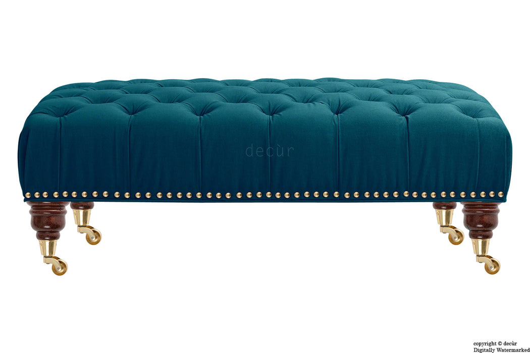 Catherine Buttoned Velvet Footstool - Peacock with Optional Storage