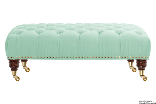 Catherine Buttoned Velvet Footstool - Seaspray with Optional Storage