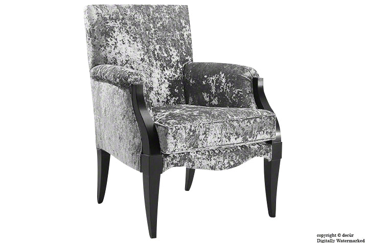 Art Deco Crushed Velvet Arm Chair - Grey