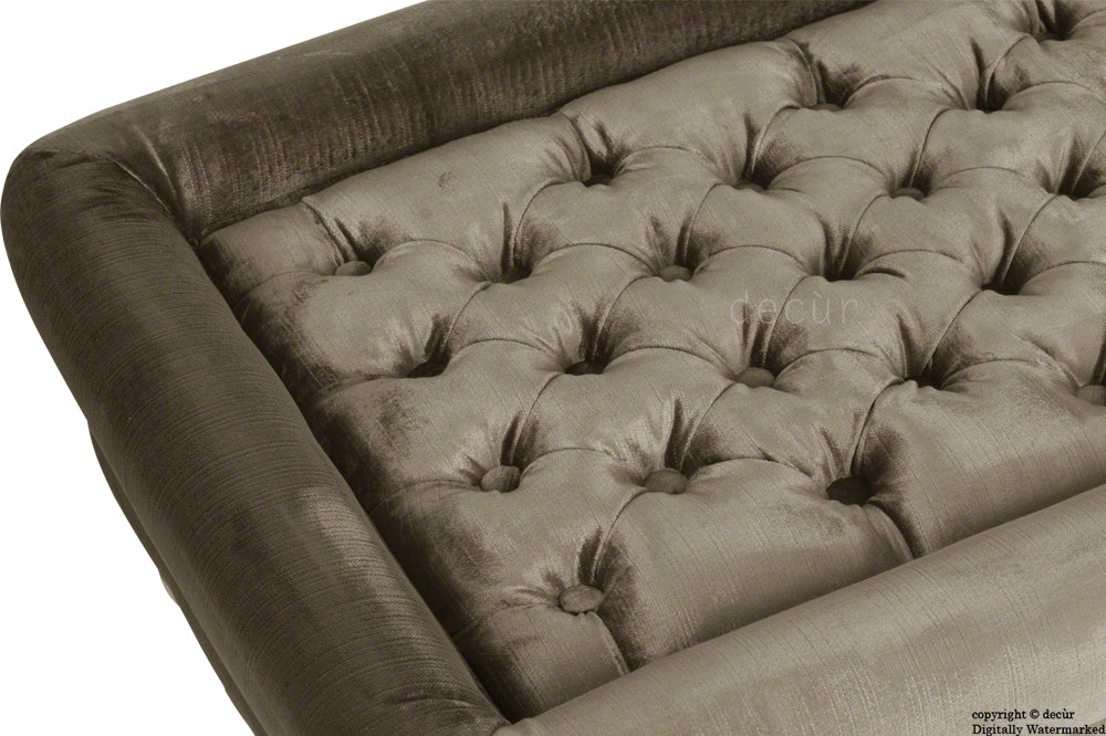Cavendish Buttoned Velvet Footstool - Taupe