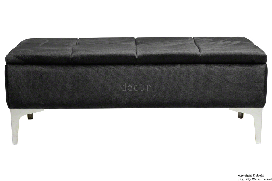 Mila Modern Buttoned Velvet Footstool - Cosmic Black with Optional Storage