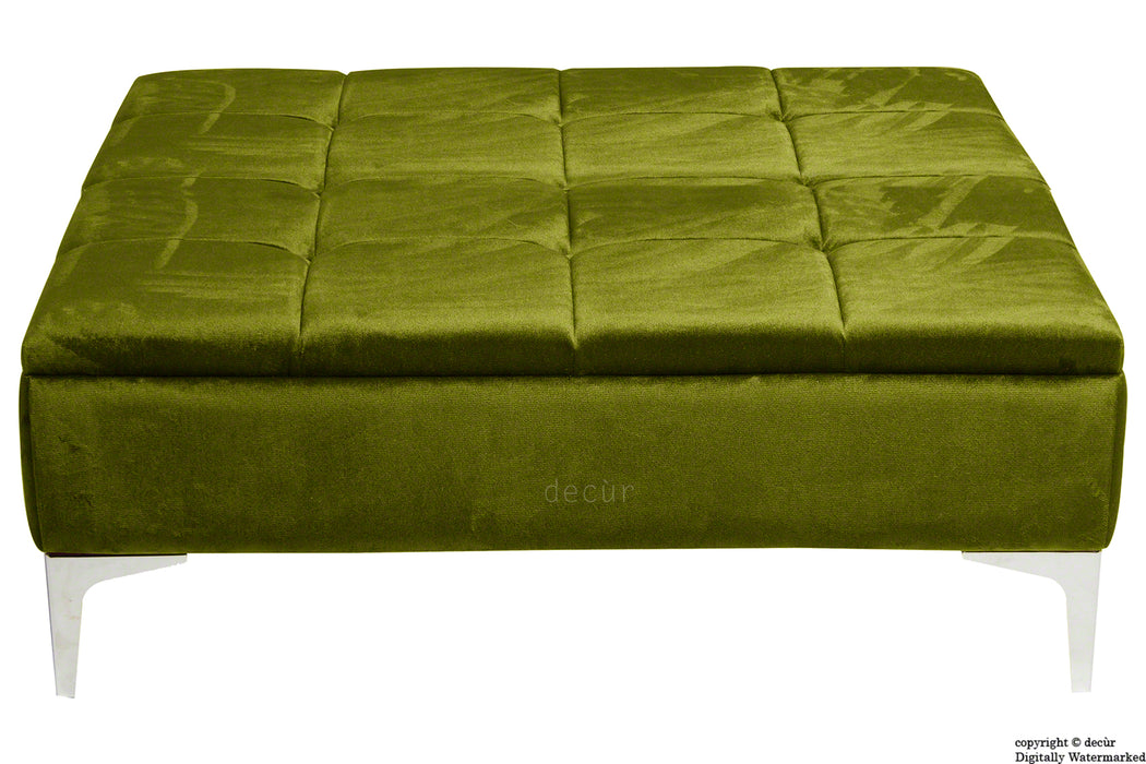 Mila Modern Buttoned Velvet Footstool Large - Grass with Optional Storage
