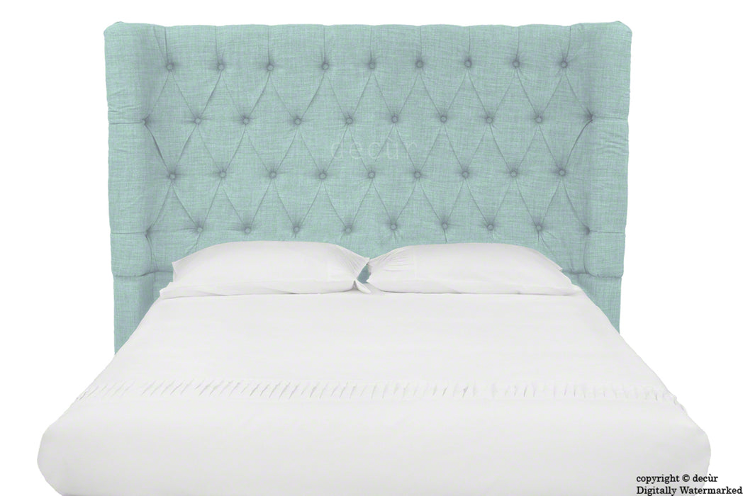 Hollyrood Buttoned Linen Winged Headboard - Sky Duck Egg Blue