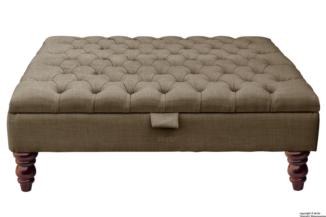 Tiffany Buttoned Linen Footstool Large - Nutmeg with Optional Storage