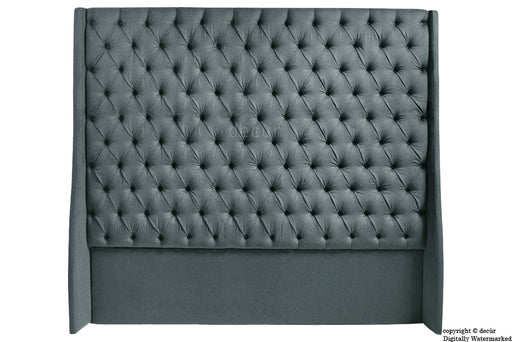 Abbingdon Buttoned Winged Velvet Headboard - Slate