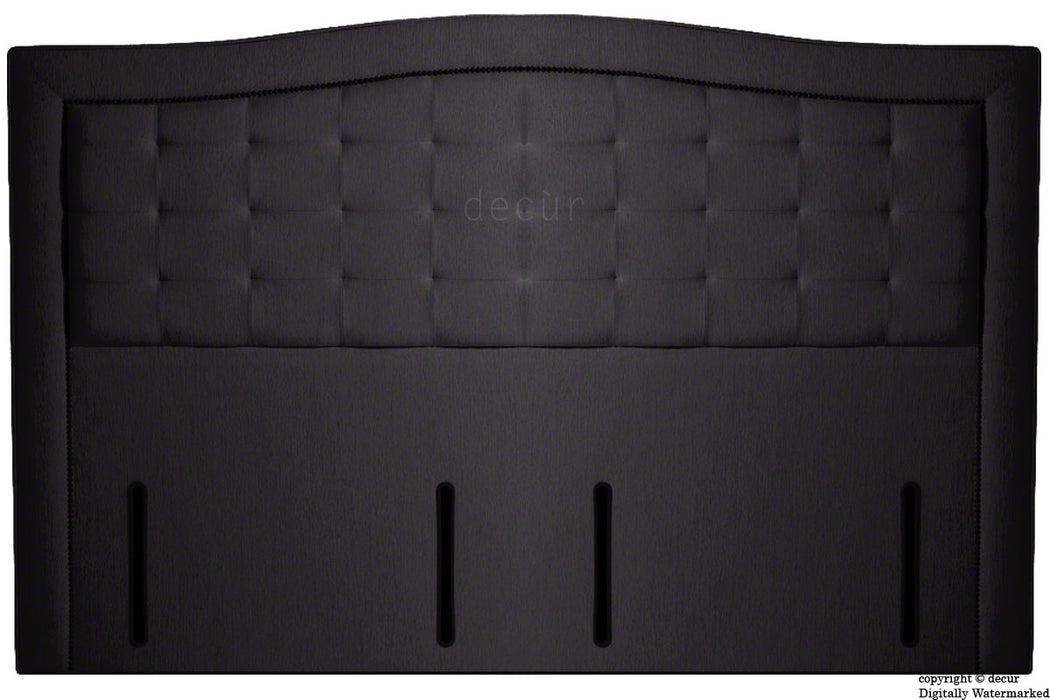 Paris Buttoned Chenille Headboard - Black