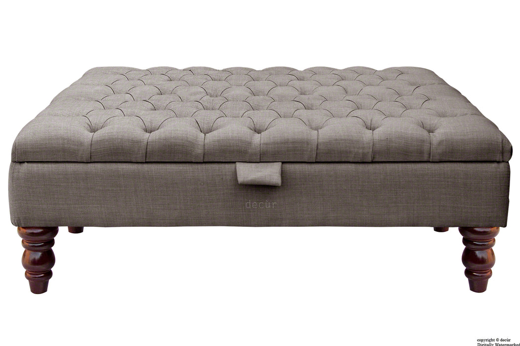 Tiffany Buttoned Linen Footstool Large - Slate with Optional Storage