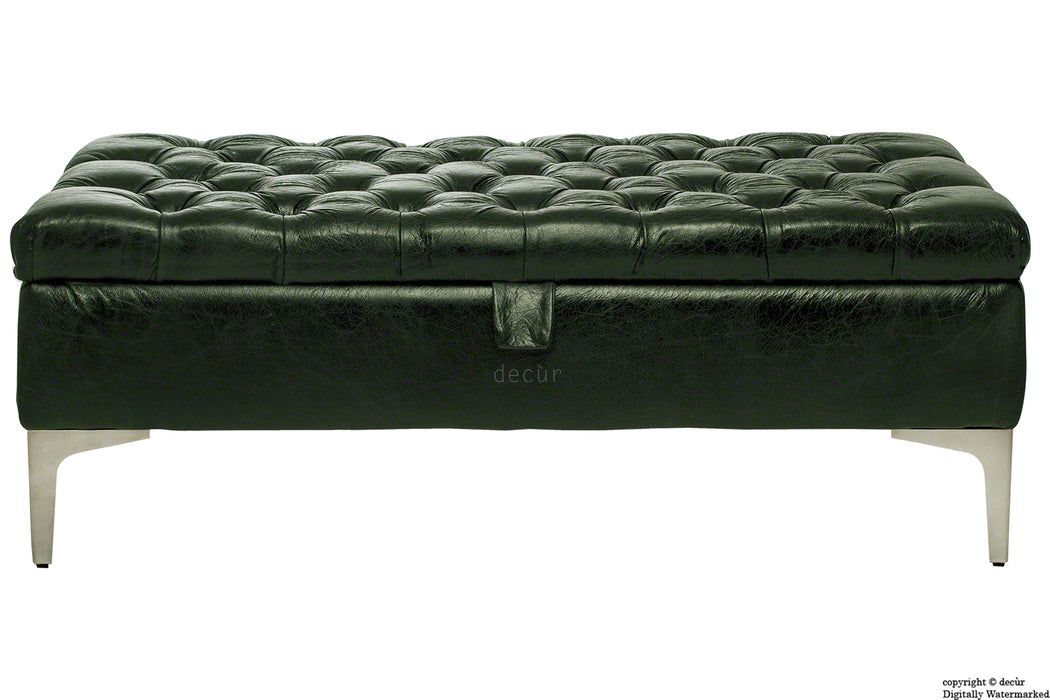Wraith Leather Vintage Footstool - Absinthe