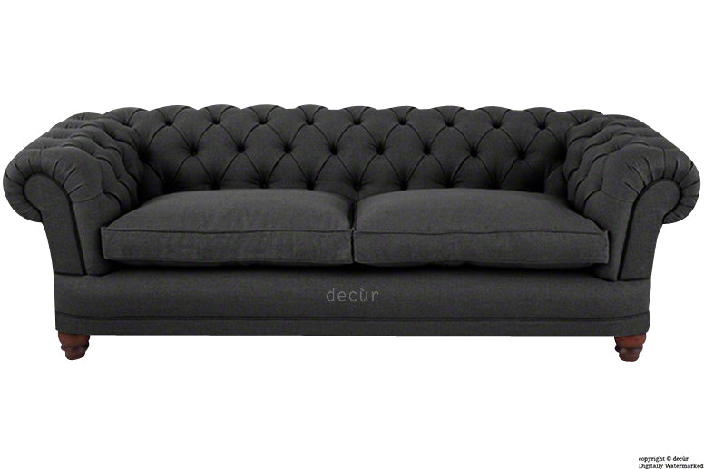 Abbotsford Linen Chesterfield Sofa - Ebony