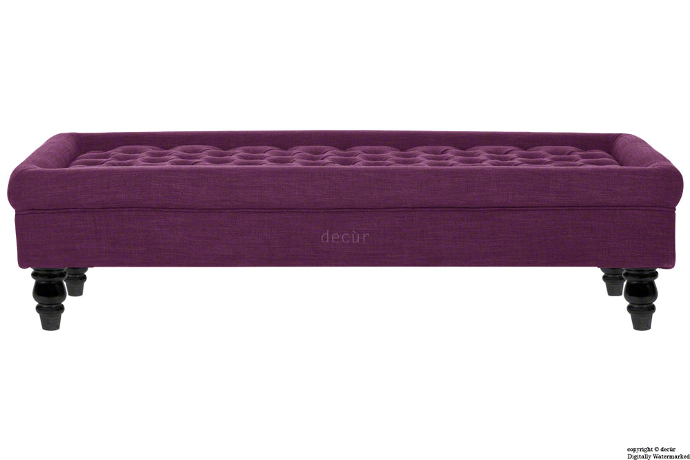 Cavendish Buttoned Linen Footstool - Plum