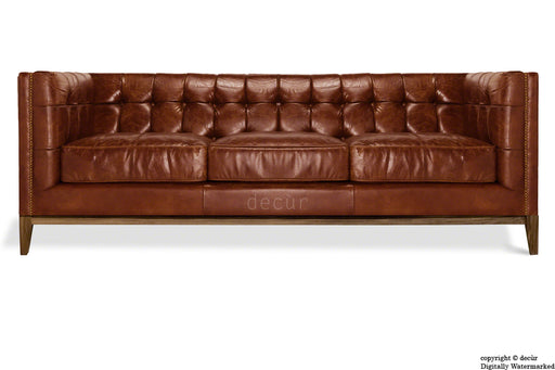 Mayfair Leather Sofa - Dark Tan