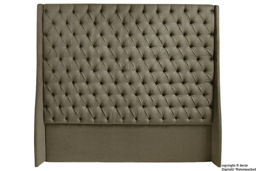 Abbingdon Buttoned Winged Velvet Headboard - Taupe