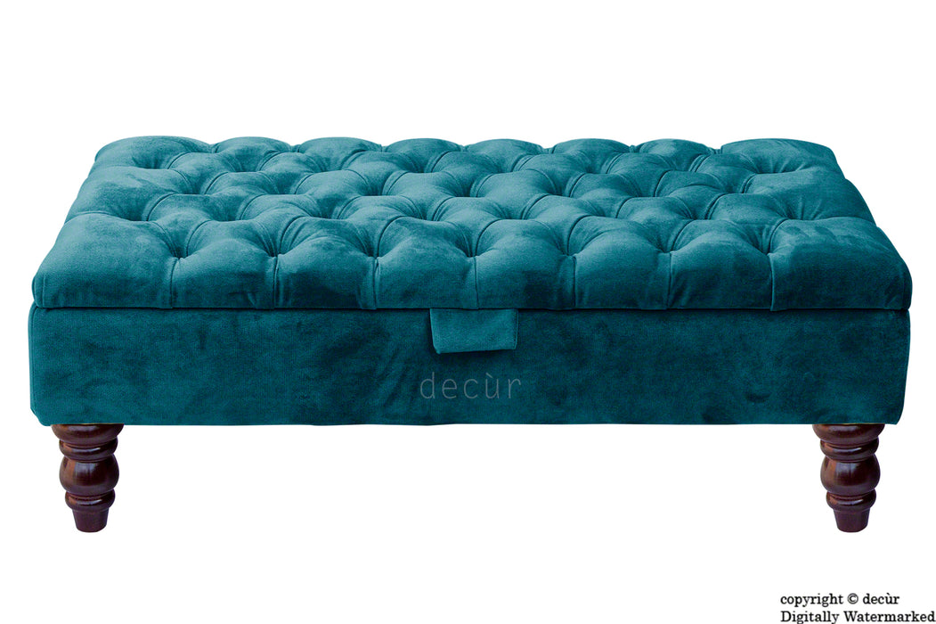Tiffany Buttoned Velvet Footstool - Peacock with Optional Storage
