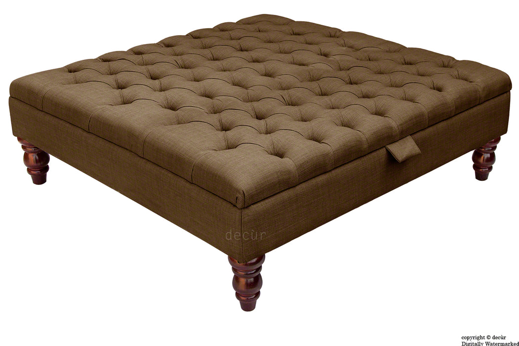Tiffany Buttoned Linen Footstool Large - Brown with Optional Storage