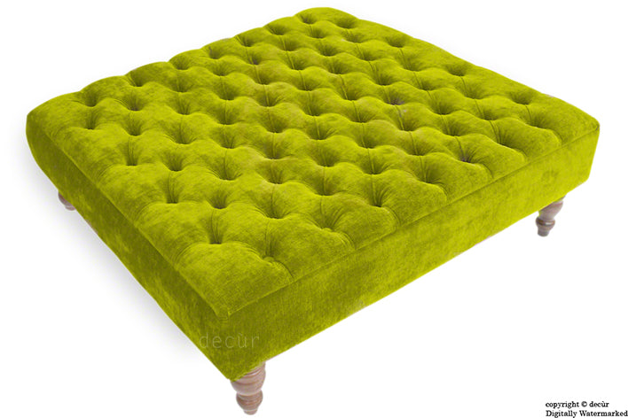 Tiffany Buttoned Chenille Footstool Large - Olive Green with Optional Storage