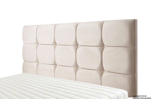 Grace Mila Faux Suede Buttoned Headboard- Natural