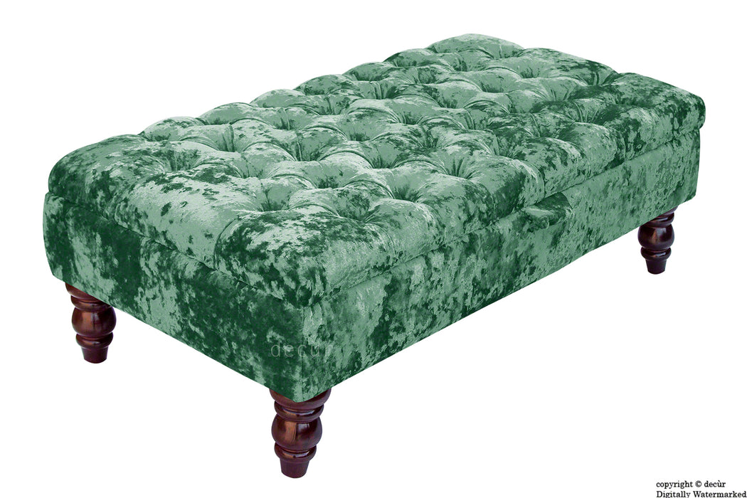 Tiffany Buttoned Crushed Velvet Footstool - Aqua with Optional Storage